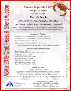 Your 2019 Company Picnic: ASA Crab Feast & Silent Auction